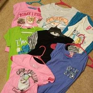 Girls size 10 and 10/12 tees lot of 8 pieces